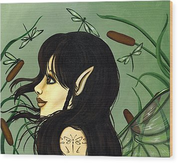 Dragonfly Fairy 5 Wood Print by Elaina  Wagner