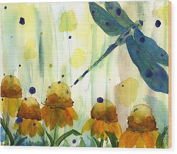 Dragonfly In The Wildflowers Wood Print