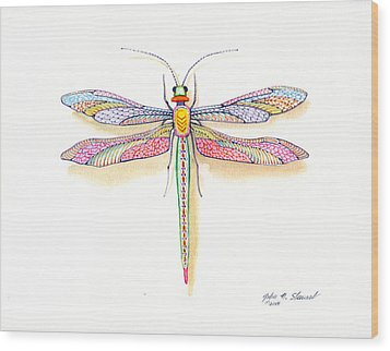 Dragonfly Wood Print by John Norman Stewart