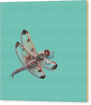Wood Print featuring the painting Dragonfly by Jude Labuszewski