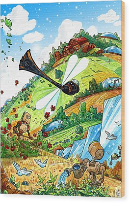 Dragonfly Wood Print by Luis Peres