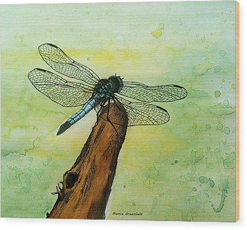 Dragonfly Wood Print by Mamie Greenfield