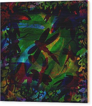 Dragonfly Wood Print by Rachel Christine Nowicki
