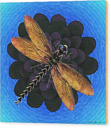 Wood Print featuring the digital art Dragonfly Snookum by Iowan Stone-Flowers