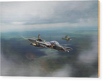 Wood Print featuring the digital art Dragonfly Special Operations by Peter Chilelli