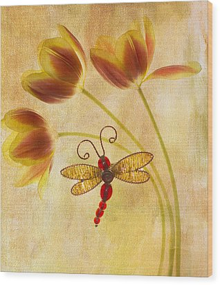 Dragonfly Tulips Wood Print by Rebecca Cozart