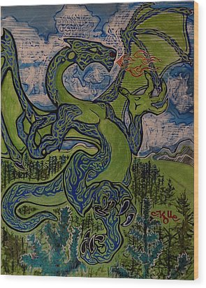 Dragonosity Wood Print by Christian Kolle