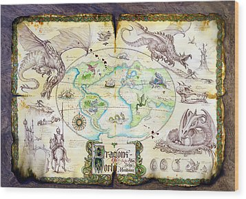 Dragons Of The World Wood Print by The Dragon Chronicles - Garry Wa