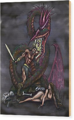 Wood Print featuring the painting Dragonslayer by Kevin Middleton