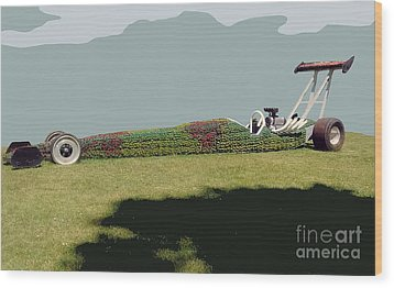 Wood Print featuring the photograph Dragster Flower Bed by Bill Thomson
