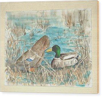 Drake And Hen Wood Print by Diane Ziemski