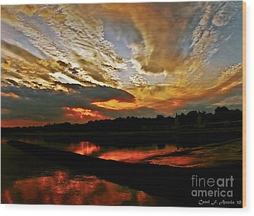 Drama In The Sky At The Sunset Hour Wood Print by Carol F Austin