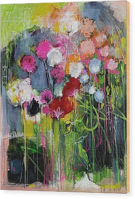 Dramatic Blooms Wood Print by Nicole Slater