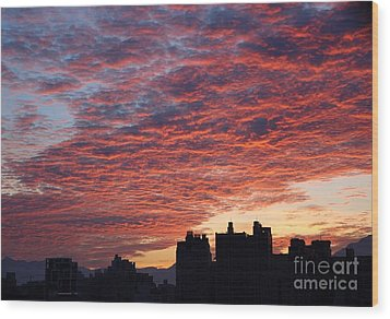 Wood Print featuring the photograph Dramatic City Sunrise by Yali Shi