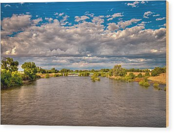Dramatic Clouds And Kern River Wood Print