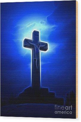Dramatic Jesus Crucifixion Wood Print by Pamela Johnson