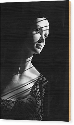 Wood Print featuring the photograph Dramatic Lucy In Black And White by Nareeta Martin