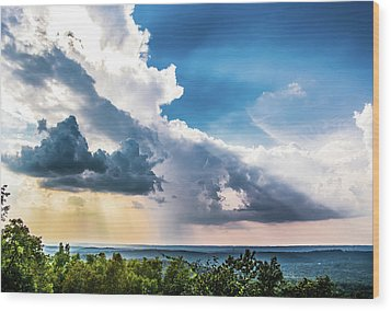 Wood Print featuring the photograph Dramatic Sunrays Over The Valley by Shelby Young