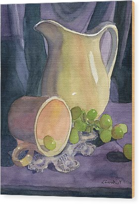 Drapes And Grapes Wood Print by Lynne Reichhart