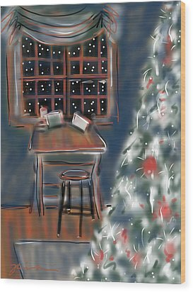 Wood Print featuring the painting Drawing Board At Christmas by Jean Pacheco Ravinski