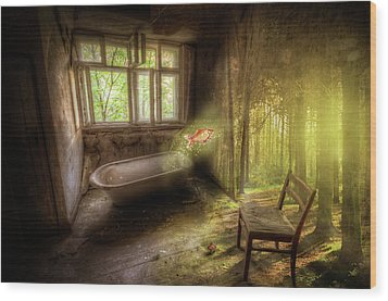 Wood Print featuring the digital art Dream Bathtime by Nathan Wright