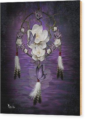 Dream Catcher Purple Flowers Wood Print
