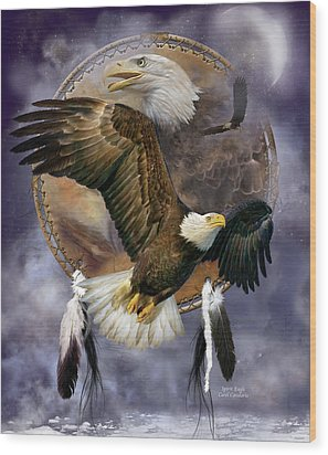 Dream Catcher - Spirit Eagle Wood Print by Carol Cavalaris