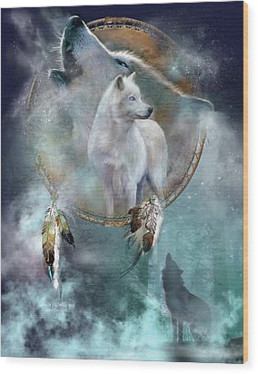 Dream Catcher - Spirit Of The White Wolf Wood Print by Carol Cavalaris