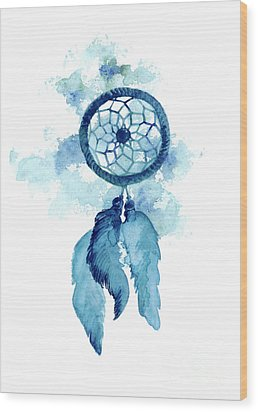 Dream Catcher Watercolor Art Print Painting Wood Print by Joanna Szmerdt