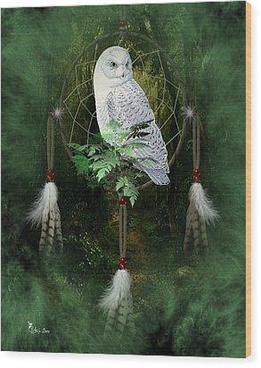 Dream Catcher White Owl Wood Print