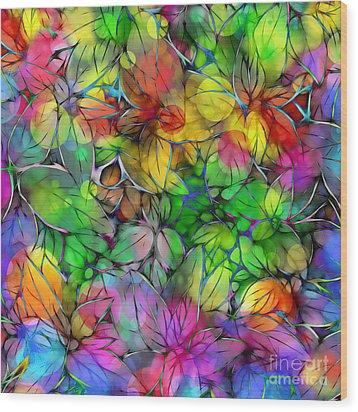 Wood Print featuring the digital art Dream Colored Leaves by Klara Acel