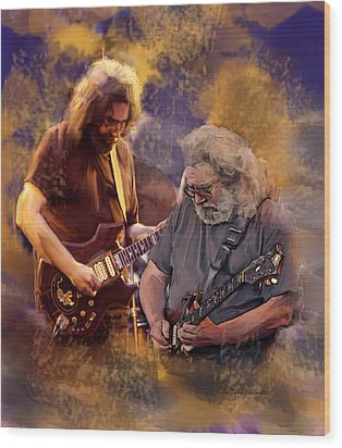 Wood Print featuring the painting Dream Colors  Jerry Garcia Greatful Dead by Iconic Images Art Gallery David Pucciarelli