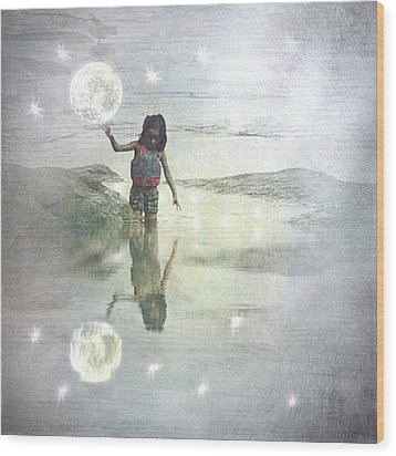 To Touch The Moon Wood Print