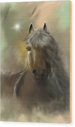 Wood Print featuring the digital art Dream Horse by Darren Cannell