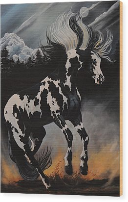 Dream Horse Series 12 - When Night Fall's Wood Print