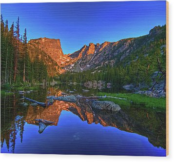 Dream Lake Sunrise Rocky Mountain Natl Park Wood Print by Harry Strharsky