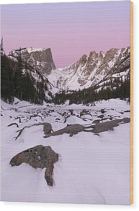 Dream Lake Winter Vertical Wood Print by Aaron Spong