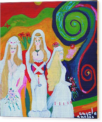 Dream Of A Jungian Marriage Wood Print by Angela Annas