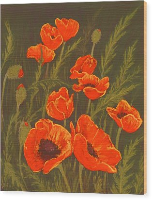Wood Print featuring the painting Dream Of Poppies by Anastasiya Malakhova