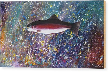 Dream Of The Rainbow Trout Wood Print by Lee Pantas