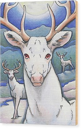 Dream Of The White Stag Wood Print by Amy S Turner