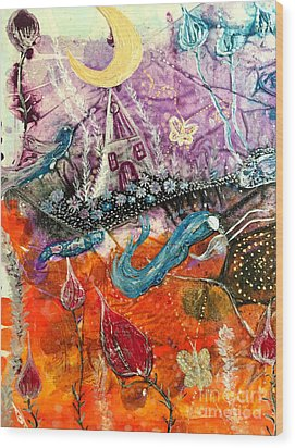Wood Print featuring the painting Dream Worlds by Julie Engelhardt
