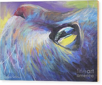 Dreamer Tubby Cat Painting Wood Print by Svetlana Novikova