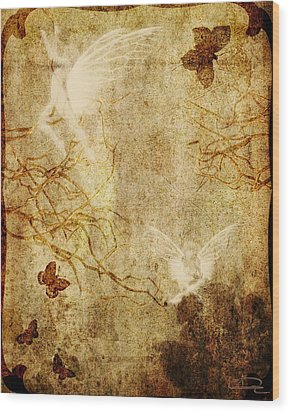 Dreaming In The Fairies' World Wood Print by Emma Alvarez