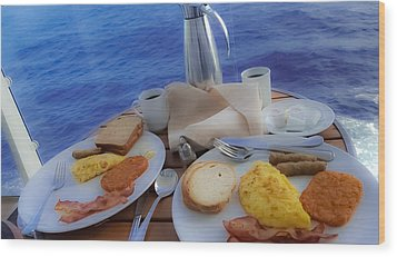 Wood Print featuring the photograph Dreaming Of Breakfast At Sea by DigiArt Diaries by Vicky B Fuller