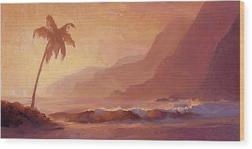 Wood Print featuring the painting Dreams Of Hawaii - Tropical Beach Sunset Paradise Landscape Painting by Karen Whitworth