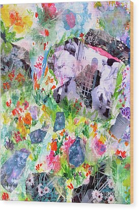 Wood Print featuring the mixed media Dreams Of Love And Other Fateful Encounters by Beth Saffer