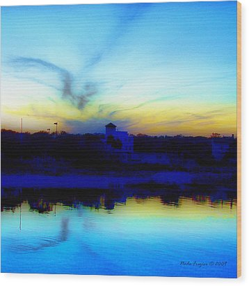 Dreamscape Blue Water Sunset  Wood Print by Nada Frazier