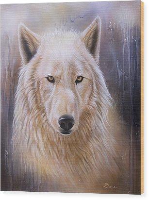 Dreamscape Wolf IIi Wood Print by Sandi Baker