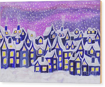Dreamstown Blue, Painting Wood Print by Irina Afonskaya